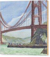 Golden Gate Bridge From Fort Baker, Ca Wood Print