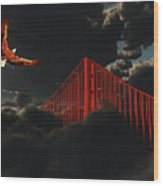 Golden Gate Bridge In Heavy Fog Clouds With Eagle Wood Print
