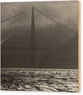 Golden Gate Bridge In The Fog, Black And White, San Francisco, California Wood Print