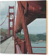 Golden Gate Bridge Low Point Of Cable Wood Print