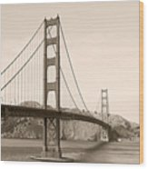 Golden Gate Bridge San Francisco - A Thirty-five Million Dollar Steel Harp Wood Print by Christine Till