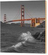 Golden Gate Bridge Sunset Study 1 Bw Wood Print