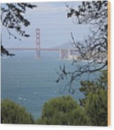Golden Gate Bridge Through The Trees Wood Print