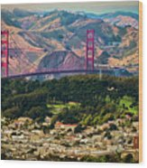 Golden Gate Bridge - Twin Peaks Wood Print