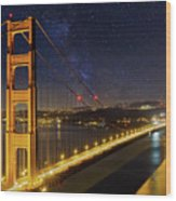 Golden Gate Bridge Under The Starry Night Sky Wood Print