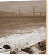 Golden Gate Bridge With Shore - Sepia Wood Print