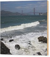 Golden Gate Bridge With Surf Wood Print
