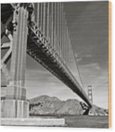 Golden Gate From The Water - Bw Wood Print by Darcy Michaelchuk