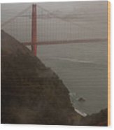 Golden Gate On A Grey Day Wood Print
