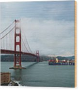 Golden Gate Ship Wood Print