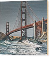 Golden Gate Surf Wood Print