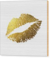 Gold Lips Wood Print