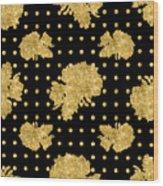 Golden Gold Floral Rose Cluster W Dot Bedding Home Decor Art Wood Print