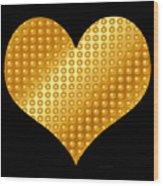 Golden Heart Black  Wood Print