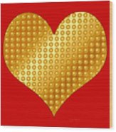 Golden Heart Red Wood Print