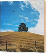 Golden Hills Summer Sky Wood Print