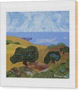 Golden Hills With Oaks Wood Print