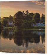 Golden Hour New England Scenery  Wood Print
