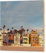 Golden Hour Panorama Of Santa Monica Condos And Bungalows - Los Angeles California Wood Print