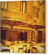 Golden Italian Cafe Wood Print