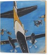 Golden Knights Army Parachute Team Wood Print