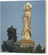 Golden Kwan Yin Wood Print by Melissa Stinson-Borg