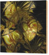 Golden Labyrinthine Wood Print