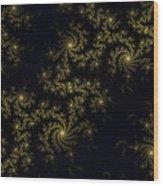 Golden Lace On Black Velvet Wood Print