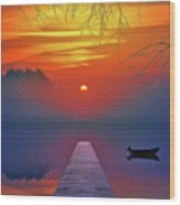 Golden Lake Wood Print