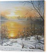 Golden Lake Sunrise  Wood Print