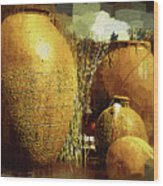 Golden Large Fountain Urns Wood Print