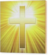 Golden Latin Cross With Sunbeams Wood Print
