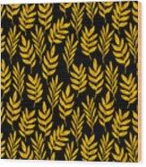Golden Leaf Pattern Wood Print