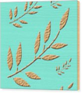 Golden Leaves On Aqua Wood Print