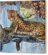 Golden Leopard Wood Print