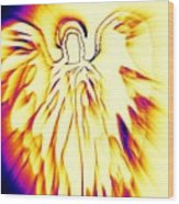 Golden Light Angel Wood Print by Alma Yamazaki