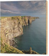 Golden Light At The Cliffs Of Moher Wood Print