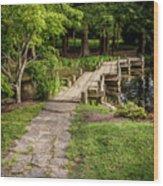 Golden Light On Footbridge Japanese Garden Maymont Wood Print