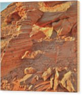 Golden Light On Valley Of Fire Arch Wood Print
