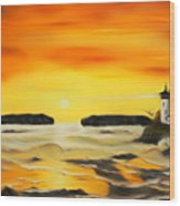 Golden Lighthouse Sunset Dreamy Mirage Wood Print