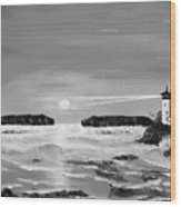 Golden Lighthouse Sunset In Black And White Wood Print
