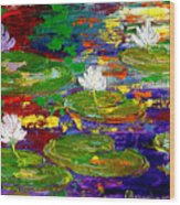 Golden Lights On Lily Pond Wood Print