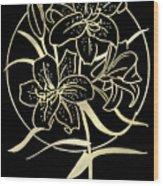 Golden Lilies Wood Print