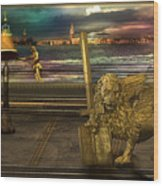 Golden Lion From Alternative Earth Wood Print