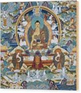 Golden Medicine Buddha Thangka Wood Print