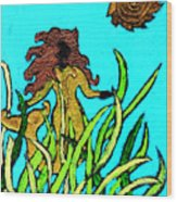 Golden Mermaid Wood Print