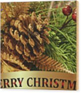 Golden Merry Christmas  Wood Print
