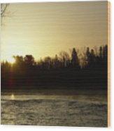 Golden Mississippi River Sunrise Wood Print