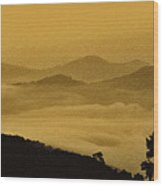Golden Morning Above The Clouds Wood Print