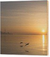 Golden Morning Flight Wood Print